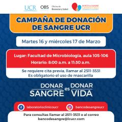 Campaña de donación de sangre UCR